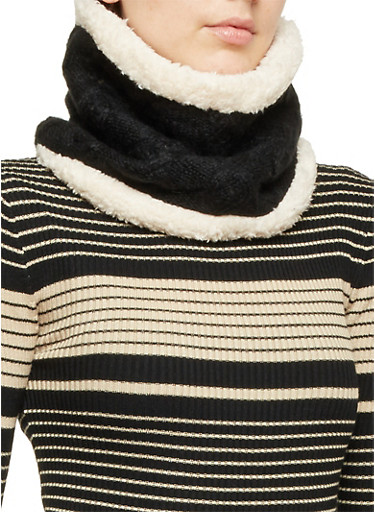 Cable Knit Pullover Scarf with Faux Fur Lining,BLACK/NATURAL,large