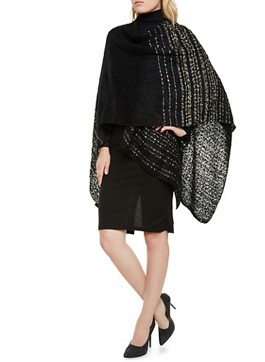 Wrap Poncho in Multicolored Knit,BLACK/WHITE,large