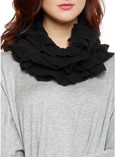 Open Knit Infinity Scarf with Frilly Edges,BLACK,large