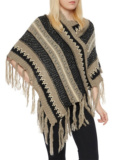 Chunky Knit Poncho with Metallic Threading,TAUPE/BLACK,large