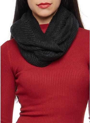 Chevron Knit Infinity Scarf,BLACK,large