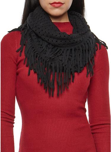 Perforated Knit Fringe Infinity Scarf,BLACK,large