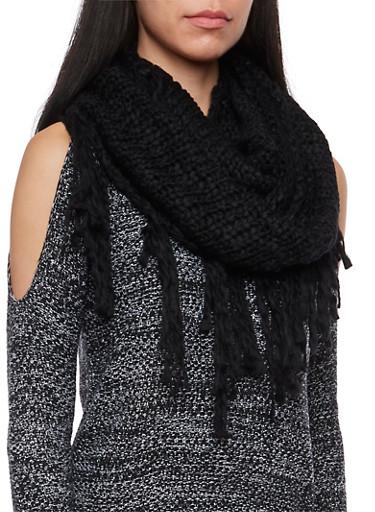 Fringe Knit Infinity Scarf,BLACK,large