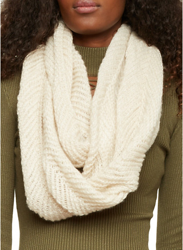 Knit Infinity Scarf,OATMEAL,large