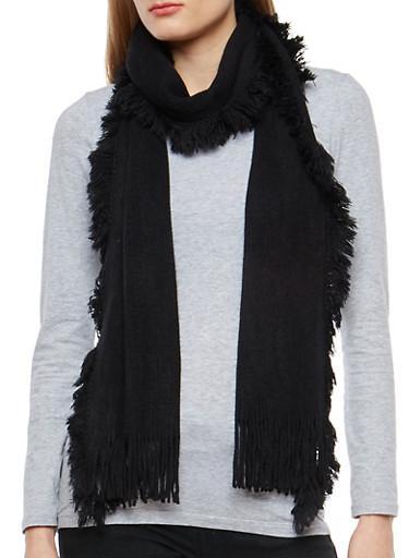 Long Knit Fringe Scarf,BLACK,large