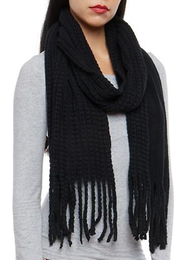 Popcorn Knit Scarf,BLACK,large