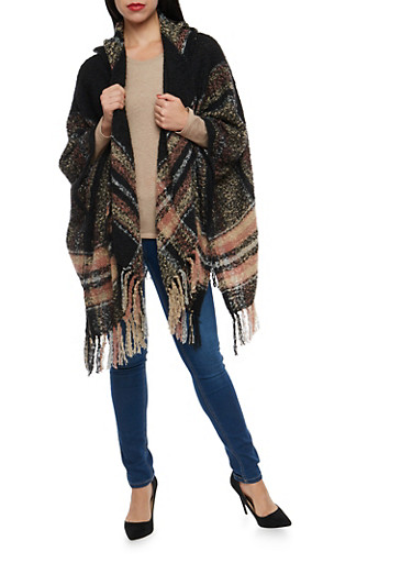 Hooded Open Front Poncho,BLACK,large