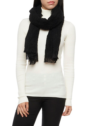 Two Tone Knit Scarf with Fringe,BLACK,large