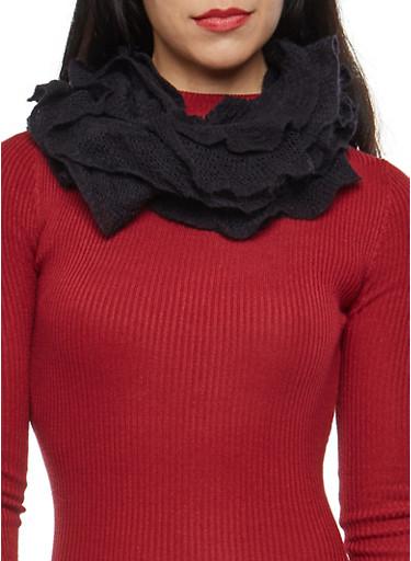Stretch Knit Ruffled Infinity Scarf,BLACK,large
