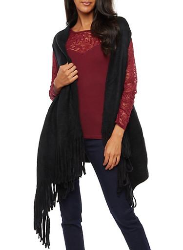 Sleeveless Fringe Vest,BLACK,large