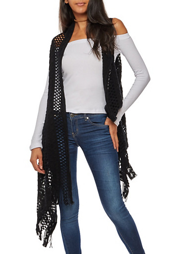 Crocheted Vest with Fringe,BLACK,large