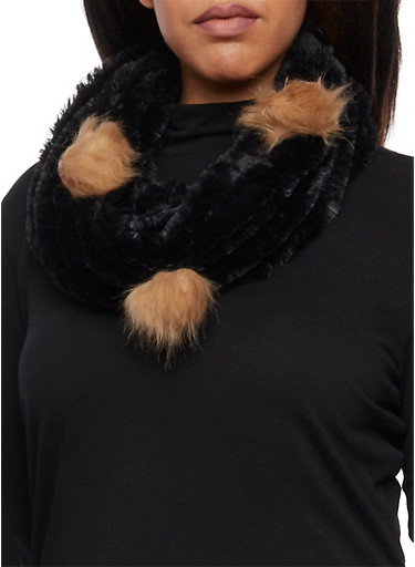 Plush Infinity Scarf with Faux Fur Pom Poms,BLACK,large