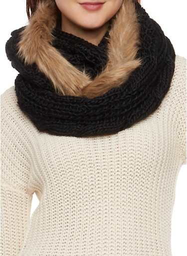Infinity Scarf with Faux Fur Trim,BLACK,large