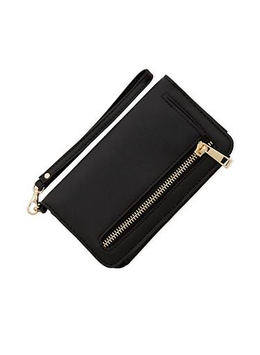 Wristlet Wallet with Zip Pocket,BLACK,large