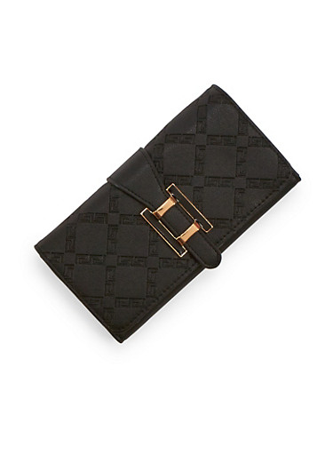 Textured Faux Leather Wallet with Metal Buckle,BLACK,large