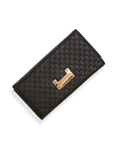 Embossed Faux Leather Wallet with Metallic Detail,BLACK,large