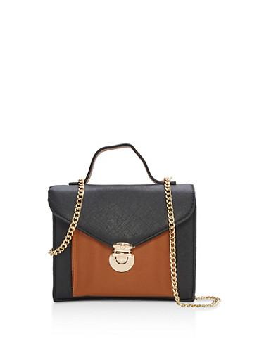 Mini Color Block Crossbody Bag,BLACK/COGNAC,large