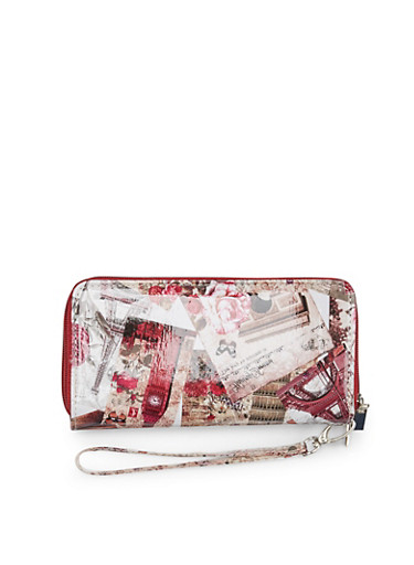 Patent Leather Wristlet with Eiffel Tower Butterfly Print,BURGUNDY,large