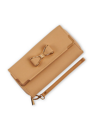 Faux Leather Bow Wallet with Wrist Strap