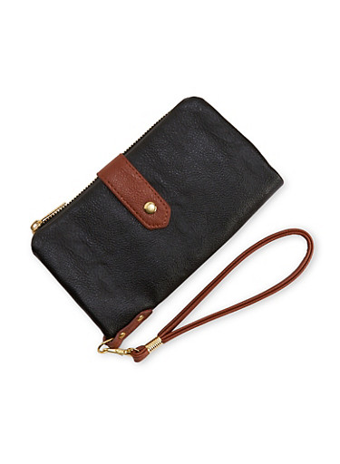 Two Toned Faux Leather Foldover Wristlet,BLACK/BROWN,large