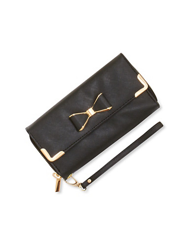Grain Faux Leather Wristlet with Bow Accent,BLACK,large