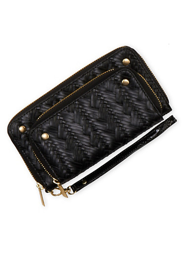 Wristlet in Braided Faux Leather,BLACK,large