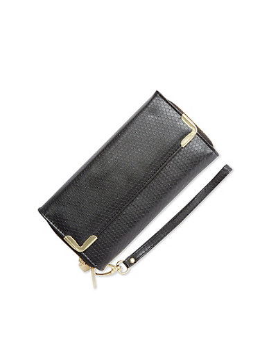 Embossed Faux Leather Long Wallet,BLACK,large