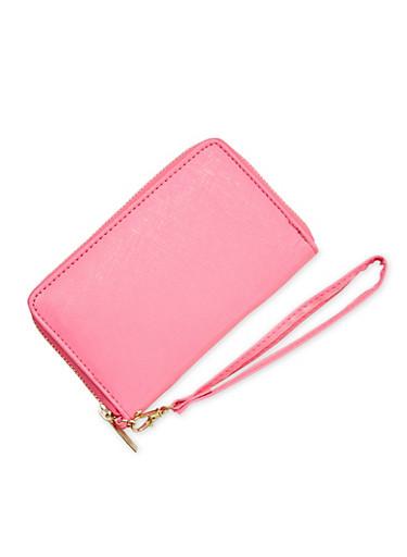 Faux Leather Wristlet Wallet,FUCHSIA,large
