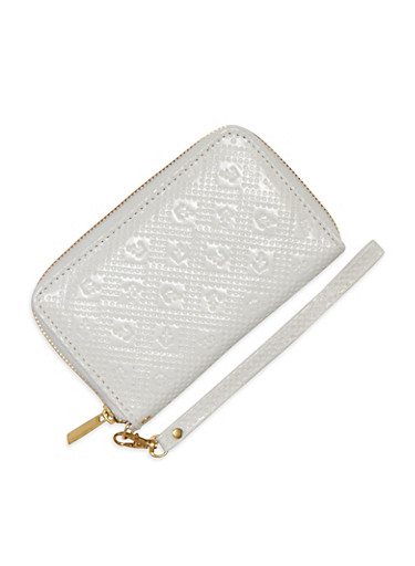 Anchor Embossed Wristlet Wallet,WHITE,large