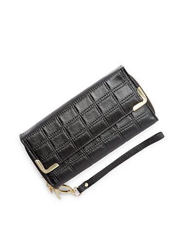 Quilted Effect Faux Leather Long Wallet,BLACK,large