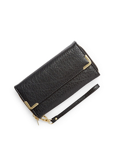 Faux Washed Leather Long Wallet,BLACK,large