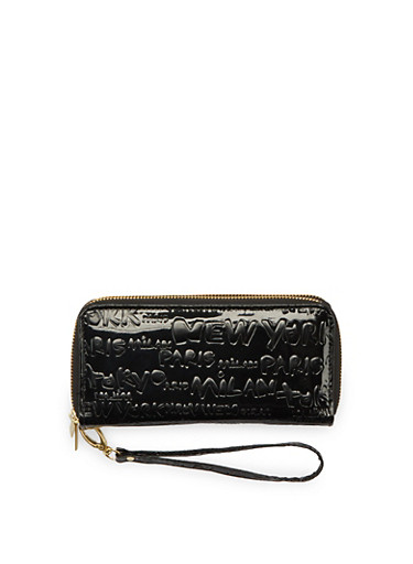 Embossed Cities Wristlet with Glossy Patent Leather,BLACK,large