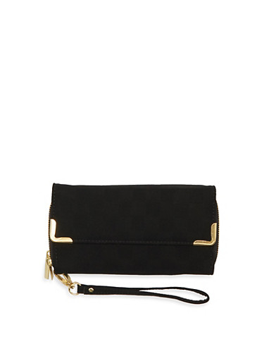 Flap Wristlet with Two Zipper Compartments,BLACK,large