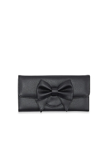 Bow Wallet with Pebbled Faux Leather,BLACK,large