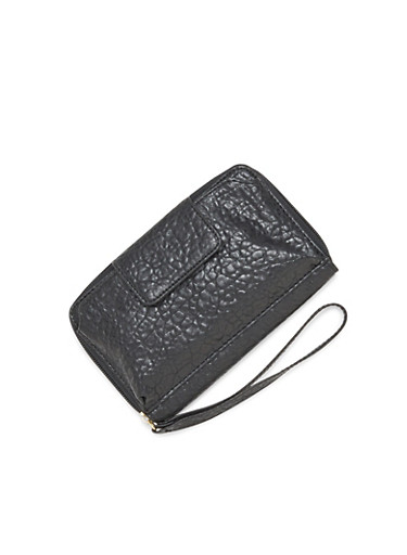 Zippered Phone Wristlet in Pebbled Faux Leather,BLACK,large