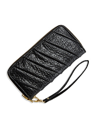Dual Compartment Continental Wallet with Pleated Front,BLACK,large