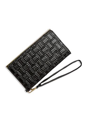 Embossed Faux Leather Wristlet Wallet,BLACK,large