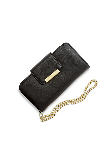 Phone Wristlet in Faux Leather,BLACK,large