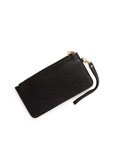Washed Faux Leather Wristlet Wallet,BLACK,large