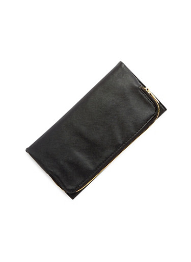 Faux Leather Fold-Over Wallet,BLACK,large