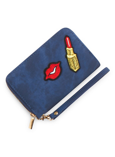Zip Wallet with Lips and Lipstick Patches,BLUE,large