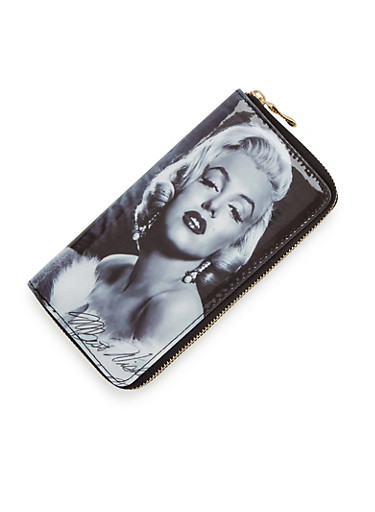 Continental Wallet with Marilyn Monroe Print,BLACK/WHITE,large