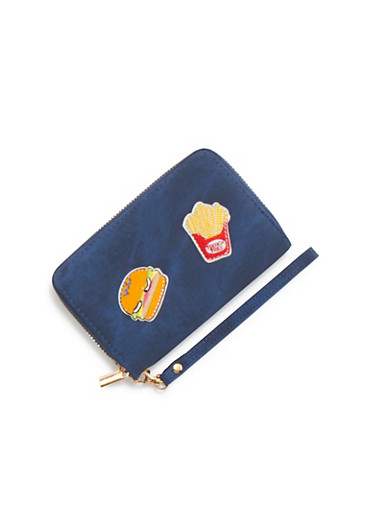 Zip Wallet with Fries and Hamburger Patches,BLUE,large