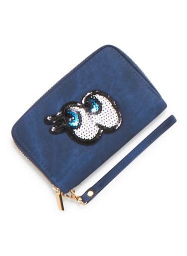 Zip Wallet with Sequin Eyes Patch,BLUE,large