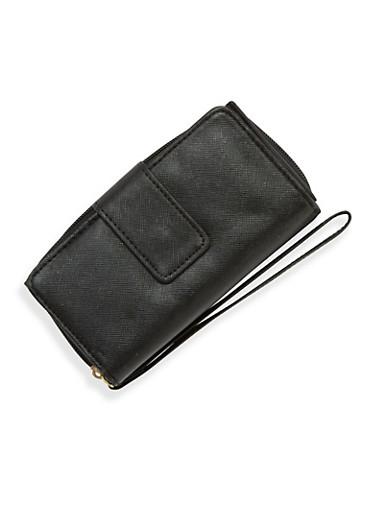 Faux Leather Phone Wristlet,BLACK,large