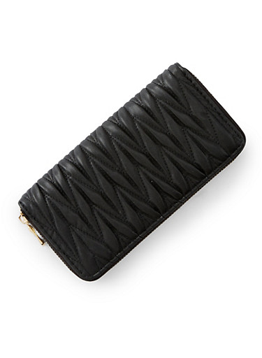 Faux Leather Zip Quilted Wallet,BLACK,large