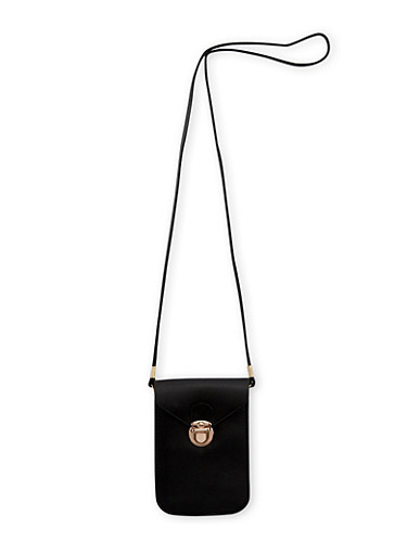 Faux Leather Cell Phone Crossbody Bag,BLACK,large