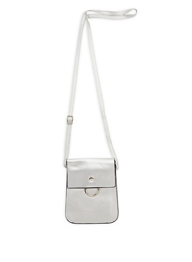 Faux Leather Cell Phone Crossbody Bag,SILVER,large