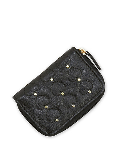 Faux Leather Studded Heart Mini Wallet,BLACK,large