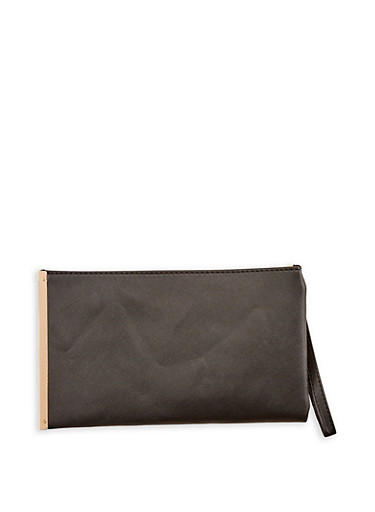 Faux Leather Wristlet with Metal Detail,BLACK,large